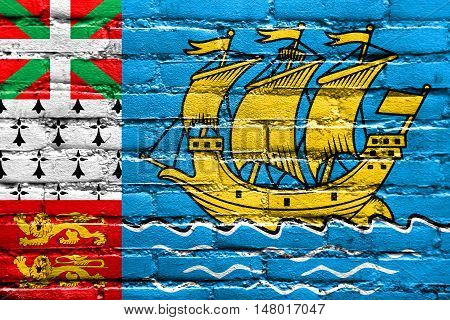 Flag Of Saint Pierre And Miquelon (unofficial), Painted On Brick Wall