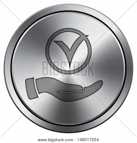 Tick With Hand Icon. Round Icon Imitating Metal.