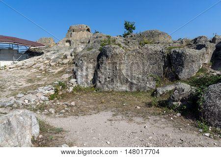 Amazing Panorama around Tomb of Orpheus in Antique Thracian sanctuary Tatul, Kardzhali Region, Bulgaria