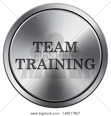 Team Training Icon. Round Icon Imitating Metal.