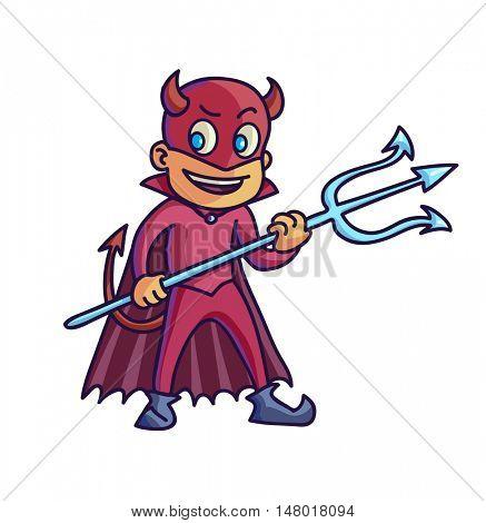 Happy halloween. Cartoon cute child in costume evil. Vector Illustration.