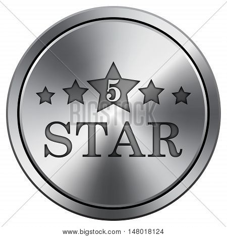 5 Star Icon. Round Icon Imitating Metal.