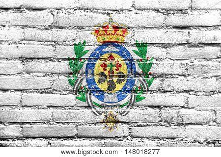 Flag Of Santa Cruz De Tenerife, Spain, Painted On Brick Wall