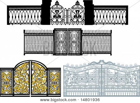 illustration with fence collection isolated on white background