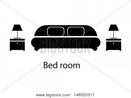 Home and hotel bedroom interior with furniture. Line vector icon illustration