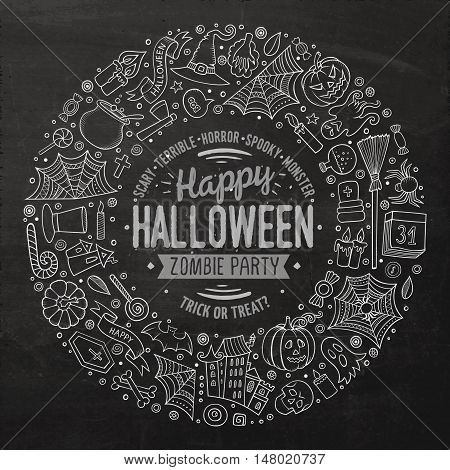 Line art chalkboard vector hand drawn set of Halloween cartoon doodle objects, symbols and items. Round frame composition