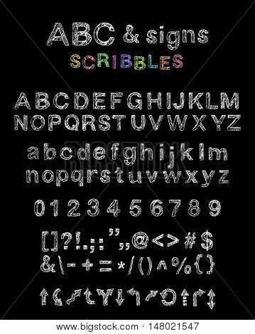 Hand drawn scribbled english uppercase lowercase alphabet numbers signs and arrows. Nonserif doodle font.