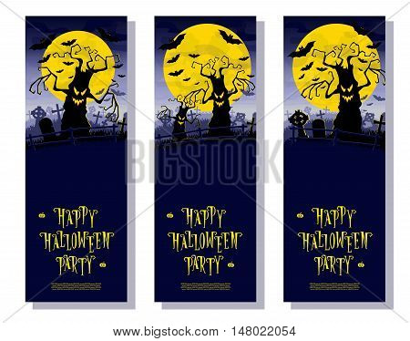 Set Halloween banners. Scary monsters trees on old cemetery backdrop moon bats and graves. Design for poster cards or invites on party. Cartoon style. Vector illustration. Vertical orientation.