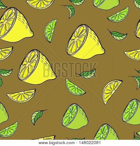 Citrus seamless pattern with lemon and lime in hand-drawn style