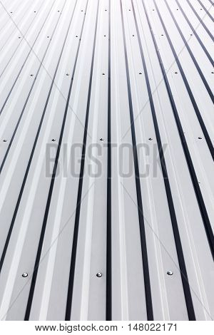 Corrugated Steel Roof With Rivets On Industrial Building
