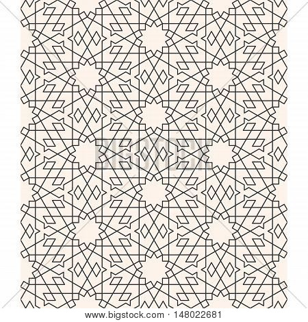 Geometric arabesque, Seamless pattern line art in Moroccan style