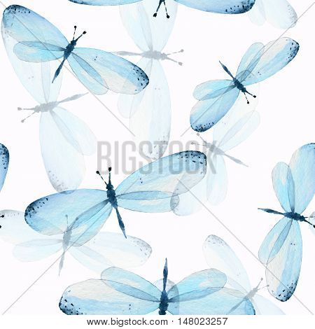 The pattern of butterflies. Seamless background. Watercolor illustration