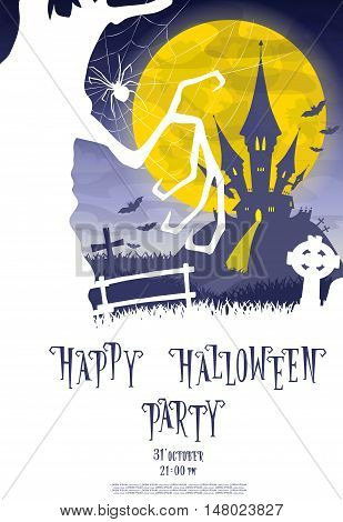 Halloween background. Silhouette scary monsters trees on old cemetery backdrop moon bats and graves. Design for concept banner poster flyer cards or invites on party. Cartoon style. Vector