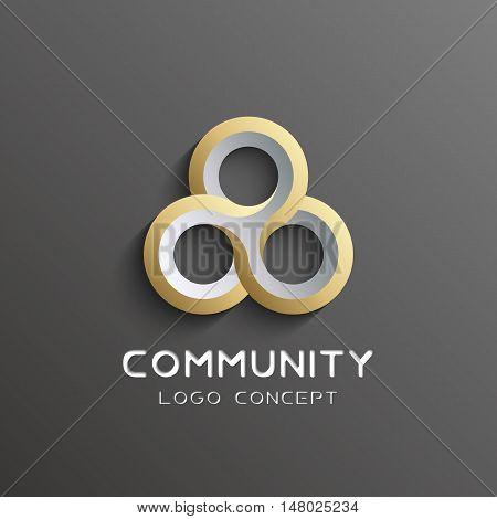 teamwork logo Social network Logo design template 3d , team work Logotype . Partnership and Friendship . Community union group triple icon.