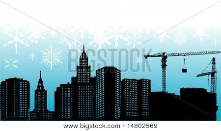 illustration with city silhouette and snowflakes