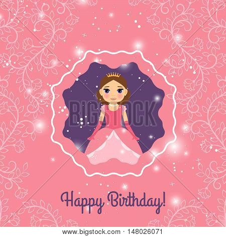 Happy Birthday pink and violet greeting card with fairy princess. Vector illustration