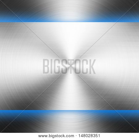 polished metal template with blue light background