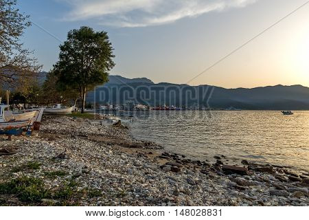 Sunset view on embankmen in Thassos town, East Macedonia and Thrace, Greece