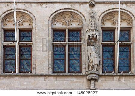 Fragment of the City Hall in Leuven. Belgium