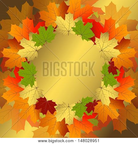 Autumn decorative floral frame with colorful translucent maple leaves (vector eps10)