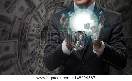 Man in american dollar concept