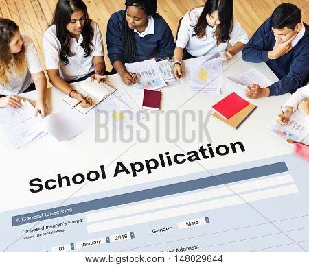 School Application Document Registration Form Concept