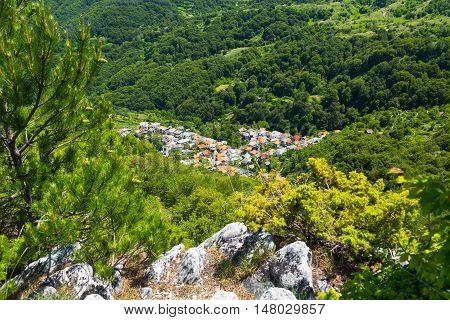 Aerial panorama of high mountain village or selo Delchevo. Bulgaria, Balkans