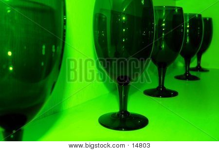 Wine Glasses In Green
