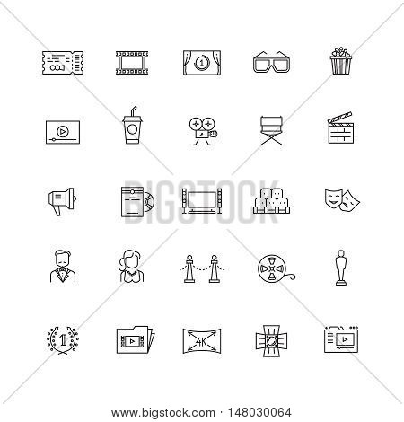Cinema, movie, film, 3d television vector thin line icons. Concept cinematography and video production illustration
