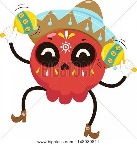 Mascot Illustration of a Colorful Sugar Skull Dressed in a Mariachi Costume Playing with Maracas