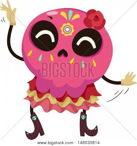 Mascot Illustration of a Colorful Sugar Skull Dressed in a Traditional Mexican Costume Performing a Dance