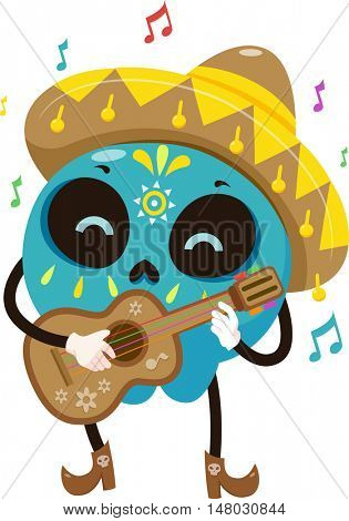 Mascot Illustration of a Colorful Sugar Skull Dressed in a Mariachi Costume Strumming a Guitar