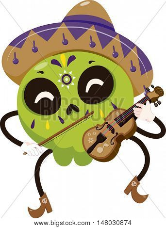 Mascot Illustration of a Colorful Sugar Skull Dressed in a Mariachi Costume Playing the Violin