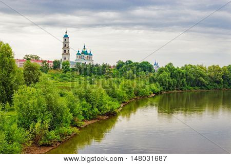 View of the bell tower of the Cathedral of of Our Saviour in Yelabuga. Russia