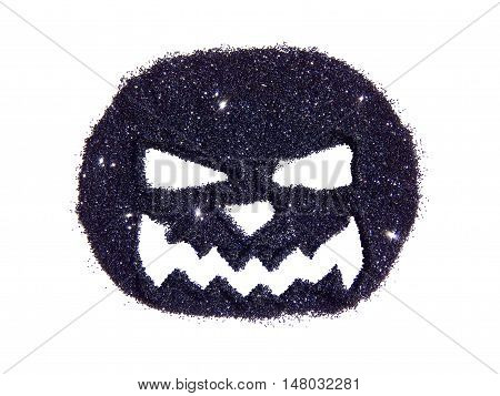 Abstract pumpkin with scary snout of black glitter, festive Halloween symbol, icon