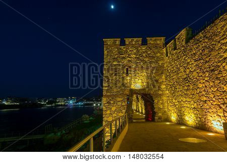 Night photo of ruins of Sozopol ancient fortifications, Burgas Region, Bulgaria