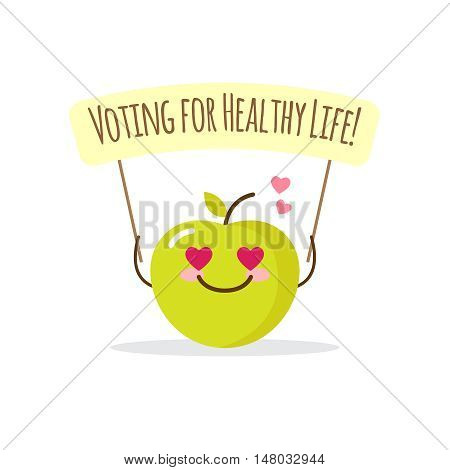 Vector cartoon green apple illustration with motivational phrase. Healthy lifestyle design concept