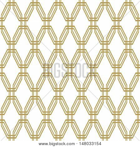 Geometric fine abstract vector golden octagonal background. Seamless modern pattern