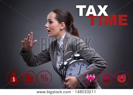 Businessman in late taxes payment concept
