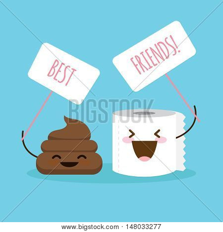 Vector cartoon shit and toilet paper illustration with posters. Comic design concept about friendship