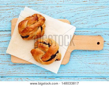 Bread Roll Pastry On Wood Table