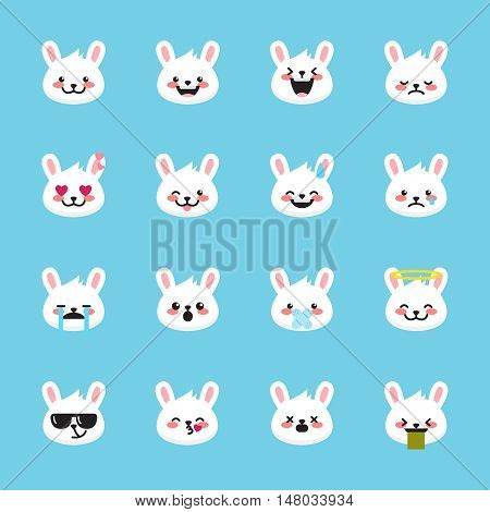 Vector rabbit emoticons collection. Cute mascot emoji set