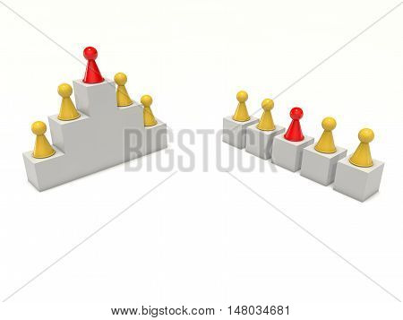 Board game figures team work hierarchy individual 3d rendering