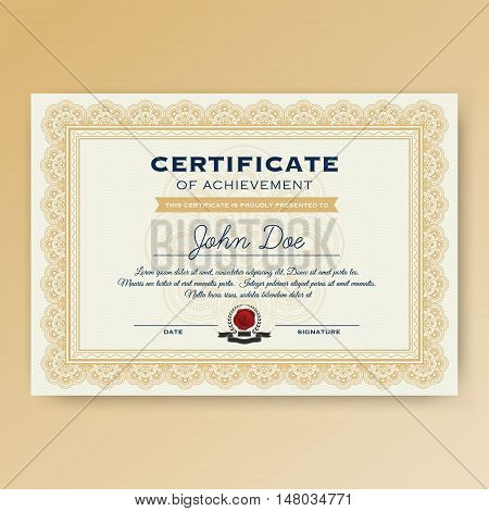 Elegant certificate of achievement with ornaments A4 size with bleeds. Vector illustration