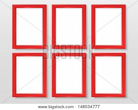 Frames Set Realistic Templates Vector Bright Red