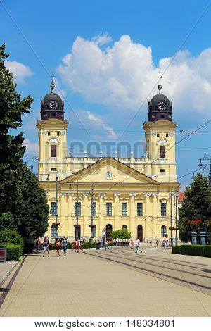 DEBRECEN, HUNGARY - JULY 1, 2016: Kossuth Ter, the central square of Debrecen, with Reformed Great Church (Nagytemplom)