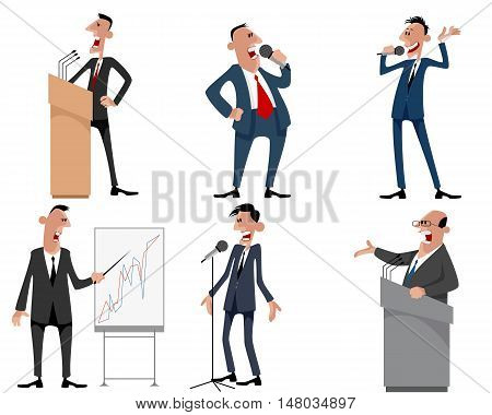 Vector illustration of a six speakers set