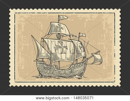 Sailing ship floating on the sea waves. Caravel Santa Maria. Hand drawn design element. Vintage vector engraving illustration for for poster Day Columbus label postmark. Isolated on beige background