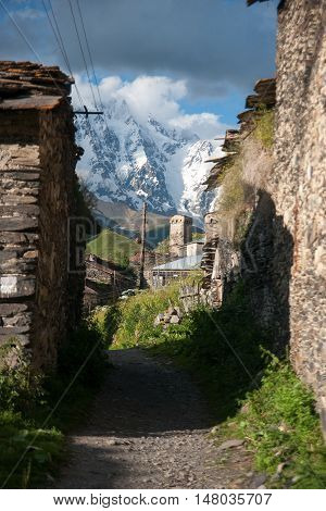 Ushguli high mountain village with towers - tourists destination