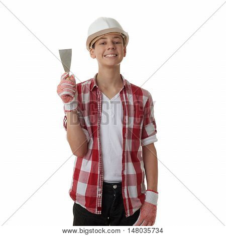 Cute teenager boy in red checkered shirt, building helmet and putty knife over white isolated background, half body, constructing concept